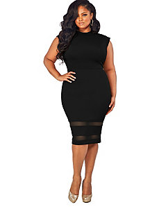 Kendal Cap Sleeve Mesh Insert Dress - Black by Monif C.