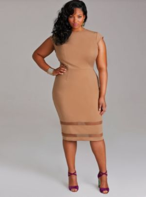 Kendal Cap Sleeve Mesh Insert Dress - Tan