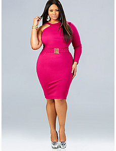 Leann One Shoulder Dress - Fuschia by Monif C.