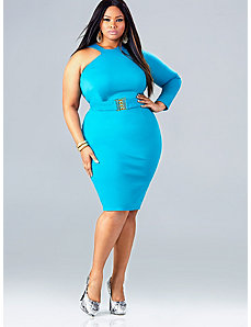 Leann One Shoulder Dress - Turquoise by Monif C.