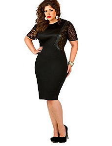 Leila Lace Insert Ponte Dress - Black by Monif C.
