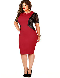 Leila Lace Insert Ponte Dress - Red by Monif C.