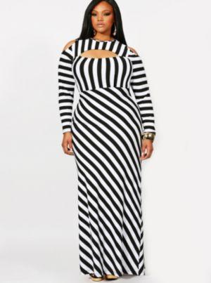 'Lourdes' Cold Shoulder Stripe Maxi Dress