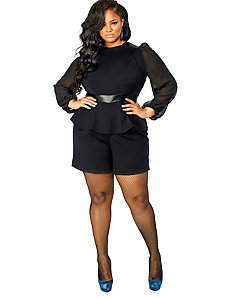 'Maria' Chiffon Sleeve Peplum Romper - Black by Monif C.