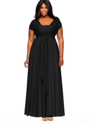 'Marilyn' Long Convertible Dress - Black