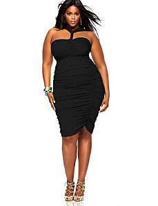 'Marilyn' Ruched Convertible Dress - Black by Monif C.