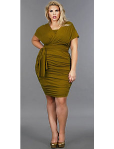 'Marilyn' Ruched Convertible Dress - Olive by Monif C.