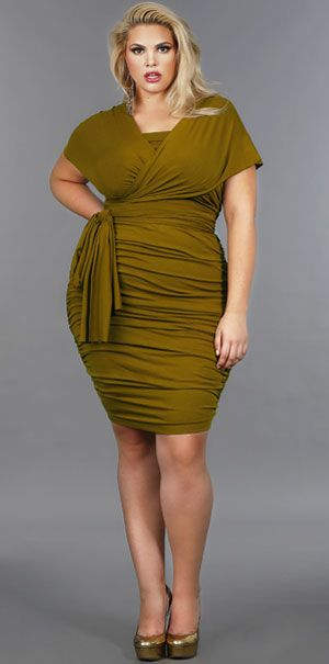 'Marilyn' Ruched Convertible Dress - Olive