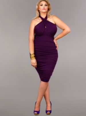 'Marilyn' Ruched Convertible Dress - Purple