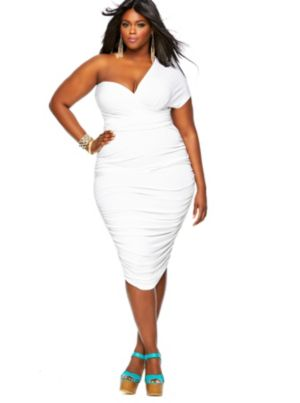 'Marilyn' Ruched Convertible Dress - White