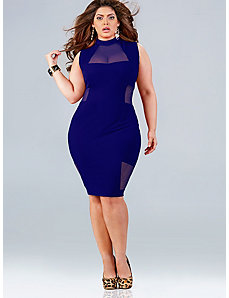 Marla Mesh Insert Dress - Midnight by Monif C.
