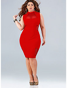 Marla Mesh Insert Dress - Red by Monif C.