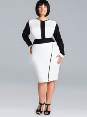 'Melanie' Ponte Faux Wrap Dress - Ivory/Black