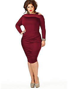 Nicole Cold Shoulder Ruched Dress - Burgundy by Monif C.