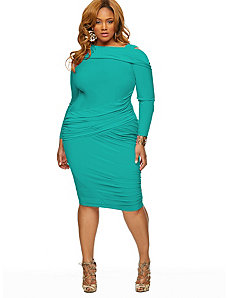 Nicole' Cold Shoulder Ruched Dress - Jade by Monif C.