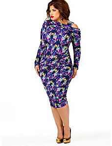 Nicole Cold Shoulder Ruched Dress - Multi Print by Monif C.