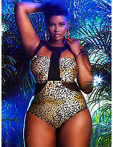Panama  Faux Mesh Insert Swimsuit- Leopard by Monif C.
