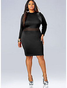 'Paula' Mesh Insert Dress - Black by Monif C.