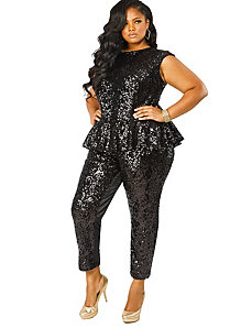 'Pauletta' Sequin Peplum Jumpsuit - Black by Monif C.