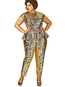 'Pauletta' Sequin Peplum Jumpsuit - Gold by Monif C.