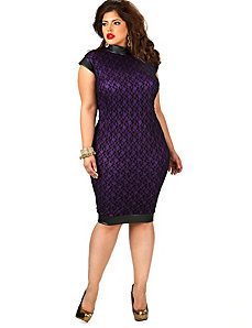 Rosalind Stand Collar Lace Dress - Black/Purple by Monif C.