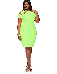 'Sherrie' Cutout Sheath Dress -Neon Green by Monif C.