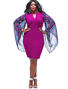 Simone Chiffon Sleeve Party Dress -Magenta by Monif C.