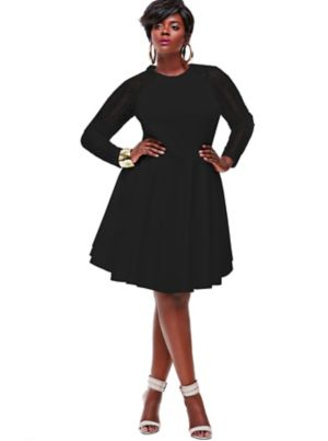 Spencer Crochet Lace Sleeve Dress -Black