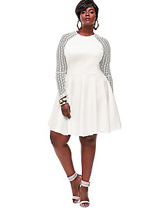 Spencer Crochet Lace Sleeve Dress - Off White by Monif C.