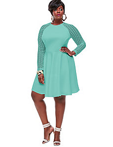 Spencer Crochet Lace Sleeve Dress -Mint by Monif C.