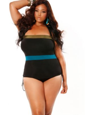 'St. Maarten' Colorblock Bandeau Plus Size Swimsui