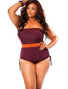 'St. Maarten' Colorblock Bandeau Plus Size Swimsui by Monif C.