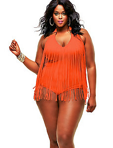 St. Tropez Fringe Swimsuit - Orange by Monif C.