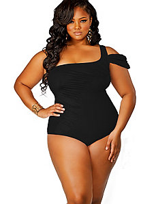Tahiti One Shoulder Swimsuit w/ Removable Strap - Black by Monif C.