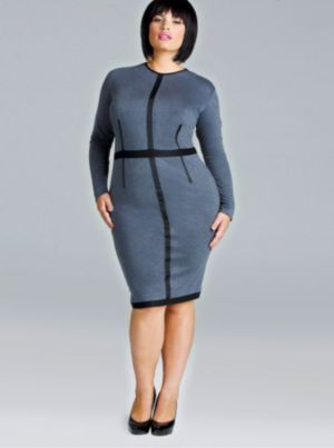 'Terry' Ponte Knit Colorblock Dress - Gray/Black
