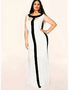Tessa Colorblock Maxi Dress - Ivory/Black by Monif C.