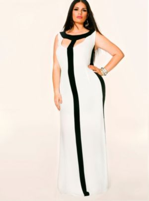 Tessa Colorblock Maxi Dress - Ivory/Black