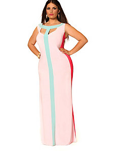 Tessa Colorblock Maxi Dress - Dusty Rose Multi by Monif C.