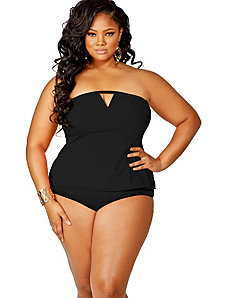 Tobago Tankini Swimsuit w/ Removable Strap - Black by Monif C.