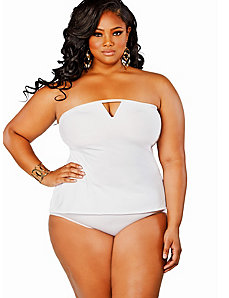 Tobago Tankini Swimsuit w/ Removable Strap - White by Monif C.
