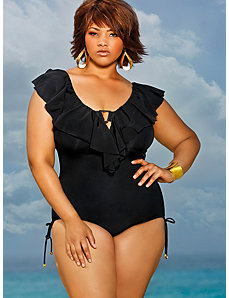 Trinidad Ruffle Swimsuit - Black by Monif C.