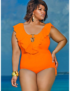 Trinidad Ruffle Swimsuit - Burnt Orange by Monif C.
