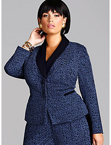 Vanessa Shawl Collar Leopard Blazer by Monif C.