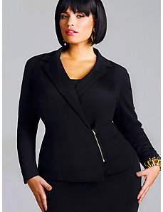 Veronica Ponte Zipper Front Blazer - Black by Monif C.
