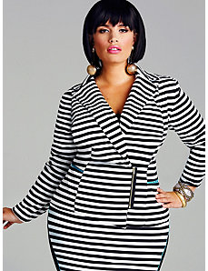 Veronica Ponte Zipper Front Blazer - Stripe by Monif C.