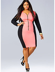 Vivian Zipper Front Dress - Neon Pink by Monif C.