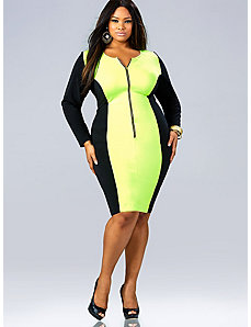 'Vivian' Zipper Front Dress - Neon Yellow by Monif C.