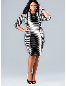 Whitley Cut Out Shoulder Dress - Stripe by Monif C.