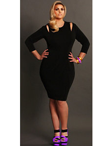 'Whitley' Cut Out Shoulder Dress- Black by Monif C.