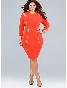 'Whitley' Cut Out Shoulder Dress - Neon Coral by Monif C.
